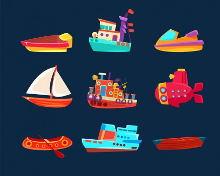 Water Transport Toy Icon Collection