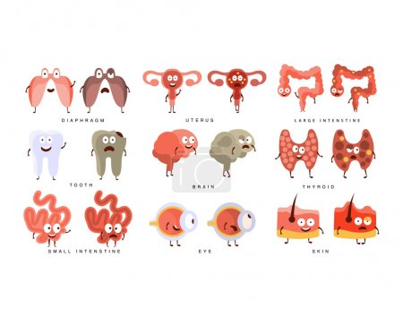Healthy vs Unhealthy Human Organs Infographic Illustration