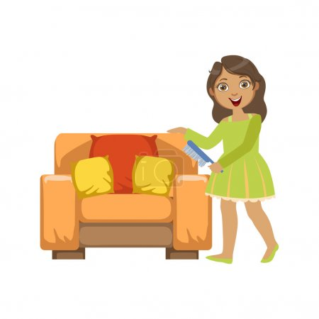 Illustration for Girl Cleaning Dust Off Armchair WIth Brush Simple Design Illustration In Cute Fun Cartoon Style Isolated On White Background - Royalty Free Image