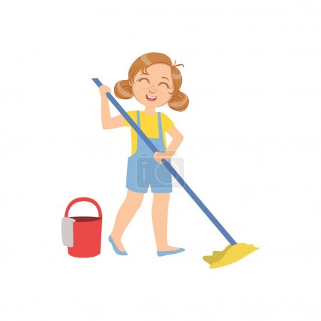 Girl Mopping The Floor With Bucket