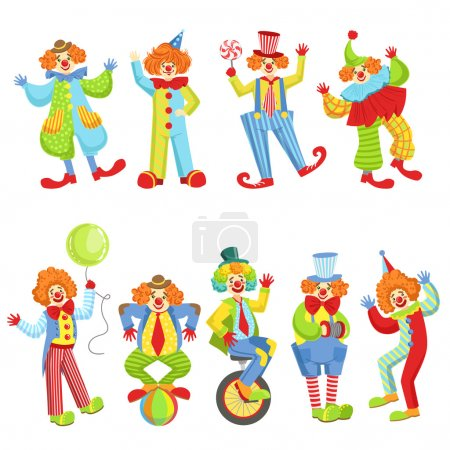 Illustration for Set Of Colorful Friendly Clowns In Classic Outfits Childish Circus Clown Characters Performing In Costumes And Make Up. - Royalty Free Image