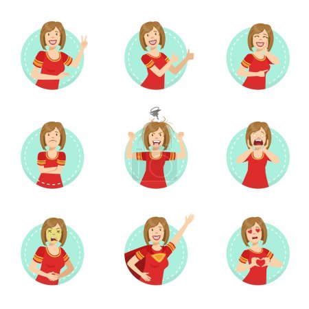 Illustration for Emotion Body Language Illustration Set With Woman Demonstrating. Set Of Emotional Facial Expressions With Person In Red T-shirt In Blue Round Frame. - Royalty Free Image