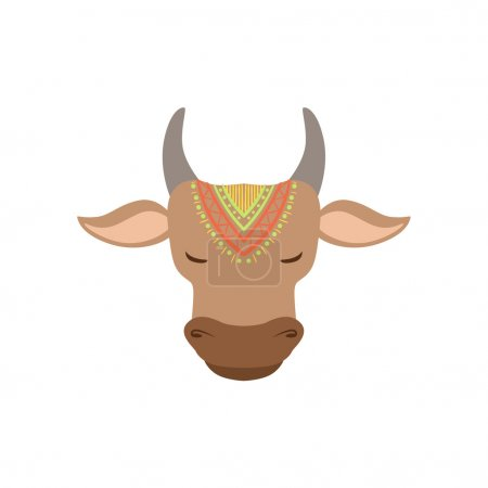 Head Of Indian Holy Cow Country Cultural Symbol Il...