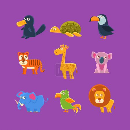 Illustration for Exotic Animals Fauna Set Of Silly Childish Drawings Isolated On Purple Background. Funny Animal Colorful Vector Stickers Set. - Royalty Free Image