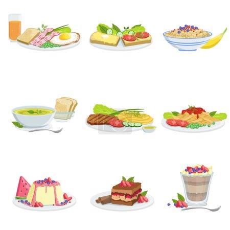 Illustration pour Assortiment de plats de cuisine européenne Menu Articles Illustrations détaillées. Ensemble de plaques de café dans des dessins de conception réaliste . - image libre de droit