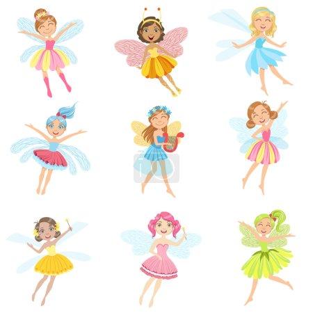 Cute Fairies In Pretty Dresses Girly Cartoon Characters Set