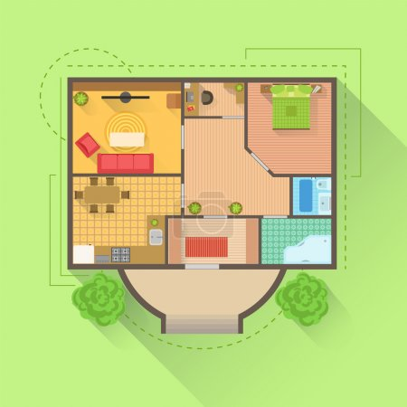 Illustration for House Floor Interior Design Project View From Above. Flat Simple Bright Color Vector Plan Of Furniture Placement - Royalty Free Image