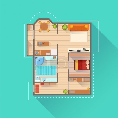 Illustration for Apartment Interior Design Project View From Above. Flat Simple Bright Color Vector Plan Of Furniture Placement - Royalty Free Image
