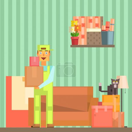 Illustration for Loader Taking Out Packed Boxes From The Room Pixelated Illustration. Minimalistic 8-bit Style Bright Color Illustration OF Resettlement Process. - Royalty Free Image