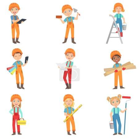 Illustration pour Enfants faisant ensemble de travaux de construction de dessins vectoriels isolés de couleur vive dans la conception simple de bande dessinée sur fond blanc - image libre de droit