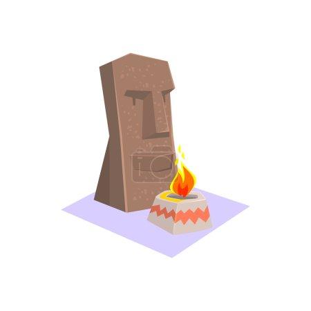 Illustration pour Monument de style île de Pâques Jungle Village Landscape Element. Illustration vectorielle colorée fraîche dans la conception géométrique stylisée de dessin animé - image libre de droit