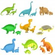 Different Dinosaurs In Pairs Of Big And Small.Cute...