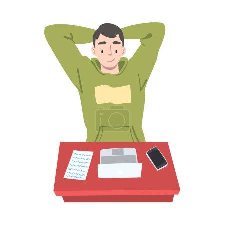 Homme satisfait Journaliste ou chroniqueur sur le lieu de travail Réfléchir à l'article Sujet Illustration vectorielle