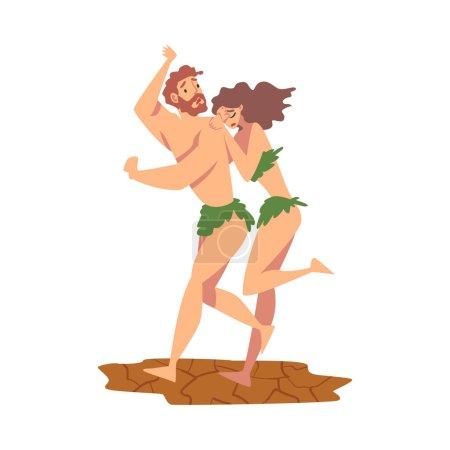 Illustration pour Expulsion d'Adam et Eve du jardin d'Eden comme narration de l'illustration vectorielle de la Bible. Histoire biblique pour les chrétiens et les juifs comme concept d'épisode religieux et spirituel - image libre de droit