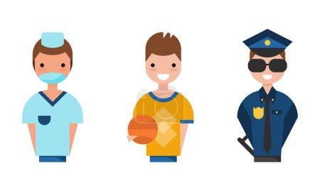 Photo pour Personnages de diverses professions Ensemble, Officier de police, Docteur, Joueur de basket-ball Personnages Illustration vectorielle de bande dessinée isolé sur fond blanc. - image libre de droit