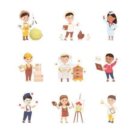 Photo pour Enfants joyeux représentant différentes professions comme artiste et jardinier vecteur Set. Enfants souriants jouant prétendant avoir diverses occupations - image libre de droit