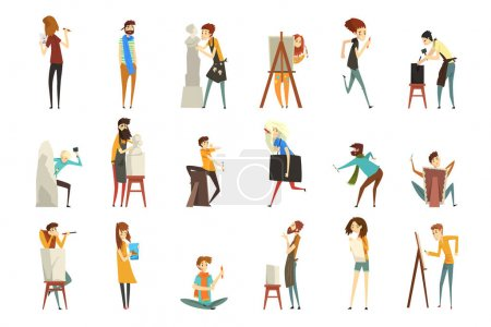 Photo pour Personnages de Professions Créatives Ensemble, Sculpteur, Peintre, Artisanat, Personnages Artistiques Illustration vectorielle de bande dessinée sur fond blanc. - image libre de droit