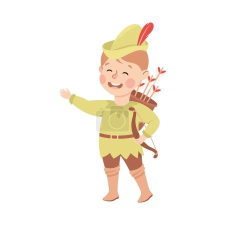 Illustration for Kind and Fair Little Boy Wearing Robin Hood Costume Fighting for Justice Vector Illustration. Moral and Decent Kid Engaged in Honest Behavior Concept - Royalty Free Image