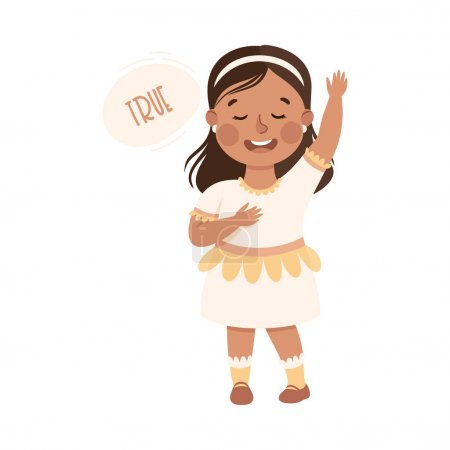Illustration for Kind and Fair Little Girl with Hand on Heart Telling Truth Vector Illustration. Moral and Decent Kid Doing Justice and Engaged in Honest Behavior Concept - Royalty Free Image