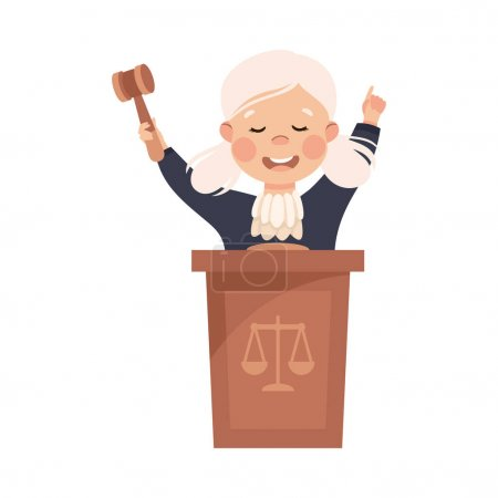 Illustration for Kind and Fair Little Girl Doing Justice and Engaged in Honest Behavior Vector Illustration. Moral and Decent Kid Wearing Judicial Robe Fighting for Truth Concept - Royalty Free Image