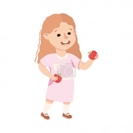 Illustration for Kind and Fair Little Girl Sharing Apple Vector Illustration. Moral and Decent Kid Doing Justice and Engaged in Honest Behavior Concept - Royalty Free Image