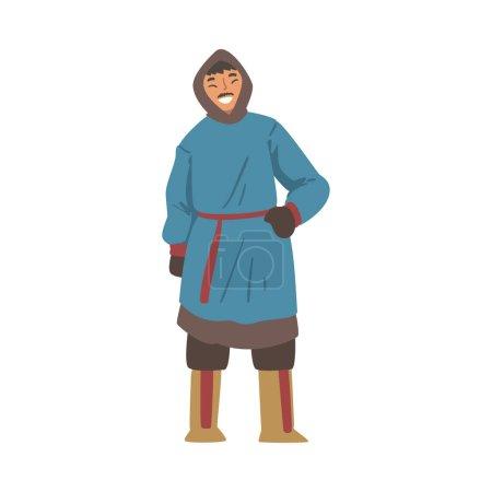 Illustration pour Personnage joyeux Polar Man, Esquimau du Nord Homme en vêtements traditionnels Illustration vectorielle de bande dessinée isolé sur fond blanc. - image libre de droit