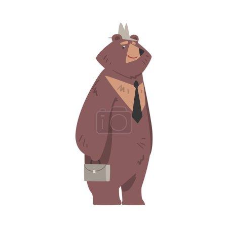 Illustration pour Homme d'affaires ours debout avec mallette, personnage animal brun humanisé portant cravate et chapeau Illustration vectorielle de bande dessinée isolé sur fond blanc. - image libre de droit