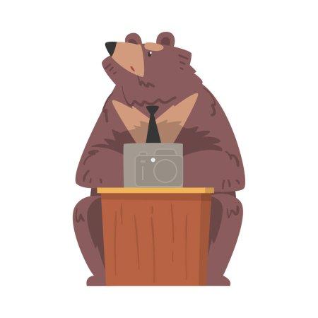 Illustration pour Ours homme d'affaires travaillant sur ordinateur portable, personnage animal humanisé en cravate assis au bureau Illustration vectorielle de bande dessinée isolé sur fond blanc. - image libre de droit