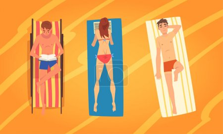 Illustration for People Character Sunbathing Lying on Blanket at Sandy Beach Enjoying Hot Summer Vector Illustration Set. Young Man and Woman Relaxing at Seaside Concept - Royalty Free Image