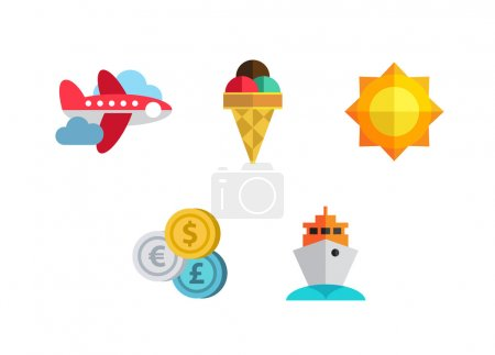 Photo for Flat design style modern vector illustration icons set of traveling, summer vacation, tourism and journey objects and passenger luggage - Royalty Free Image