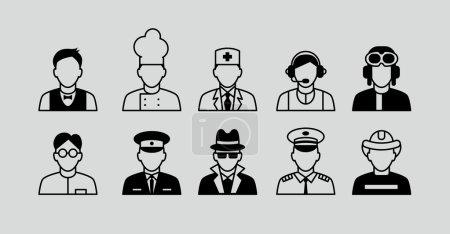 Illustration pour Prêt pour la profession. Set Icônes plates avec l'homme de différentes professions - image libre de droit