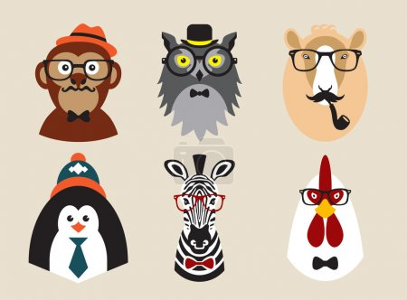 Photo pour Photos illustrées sur le thème des animaux hipsters à la mode - image libre de droit