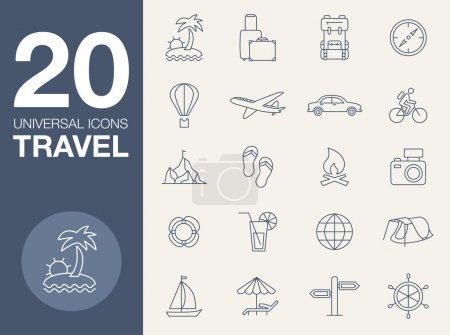 Photo for Vector icons on the theme of travel in a simple linear style - Royalty Free Image