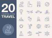 Vacation icons blue line contour series