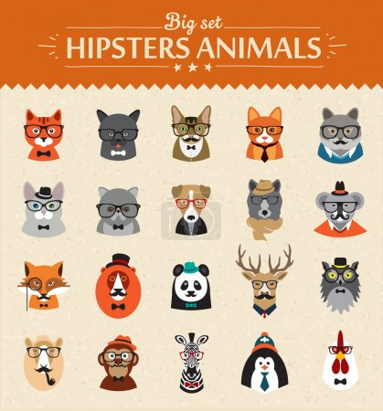 Photo for Cute fashion Hipster  Animals  of vector icons large set illustrator vector modern concept of flat design - Royalty Free Image