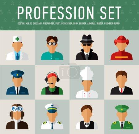 Photo pour Différentes professions personnages réseau de grands ensembles d'illustrations dans le style d'un appartement moderne - image libre de droit