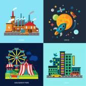 Různé městské barevné domy, zábavní park, noční mrakodrapy, výrobních prostor. Vektor