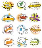 Set of Retro Comic Book Vector Design elements Speech and Thought Bubbles illustration