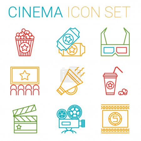 Flat line icons set of professional film production, movie shooting, studio showreel, actors casting, storyboard writing and post production. Flat design style modern vector illustration concept.