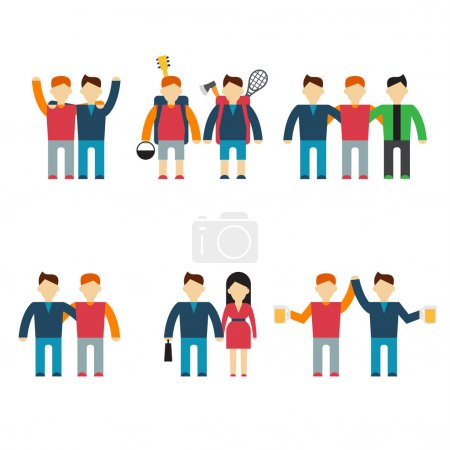 Friends and friendly relationship flat line icons set with people chatting present party isolated vector illustration