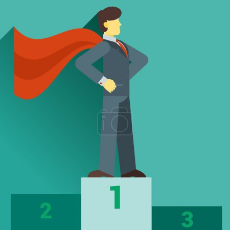 Photo for Cartoon businessman Super Hero with a red cape flying out behind him and a happy smile, vector flat - Royalty Free Image