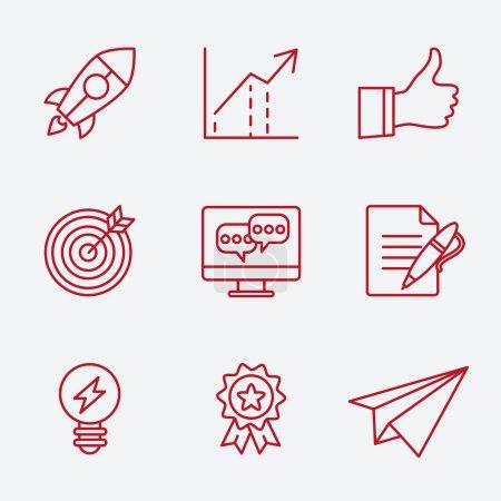 Illustration pour Ensemble d'icônes de ligne plate de développement de planification de petite entreprise, éléments clés de démarrage, solution de stratégie, étude de marché, identité de marque et vision d'entreprise. Vecteur de style design moderne - image libre de droit