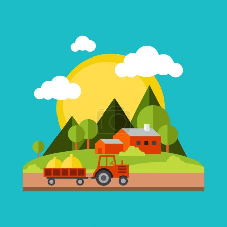 Color vector flat illustrations village landscapes. Nature, mountains, vacation, sun, trees, house, field