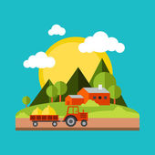 Color vector flat illustrations village landscapes Nature mountains vacation sun trees house field
