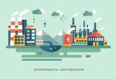 Pollution urban landscape the plant with pipes flat style vector