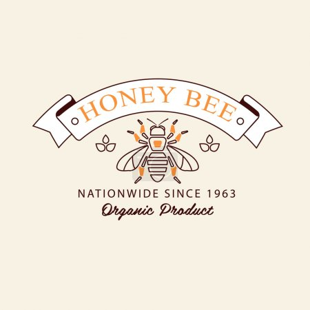 Set of honey and bees labels