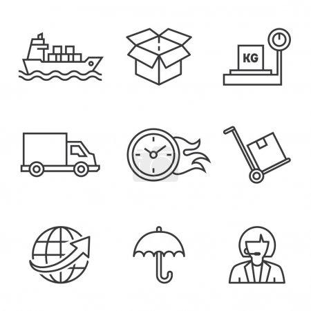 Shipping process icons on white