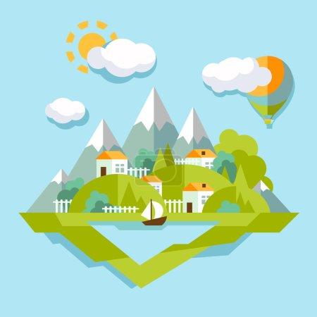 Colorful, landskape in trendy flat style.