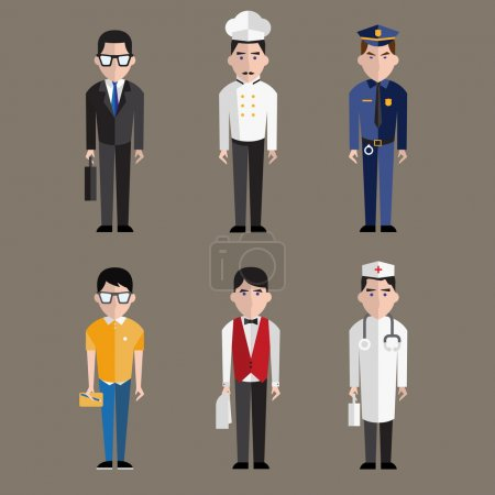 Photo for Different people professions characters set on gray background - Royalty Free Image