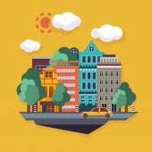 City Urban landscape on orange background